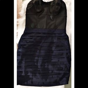 Express Strapless Black & Blue Prom Party Dress